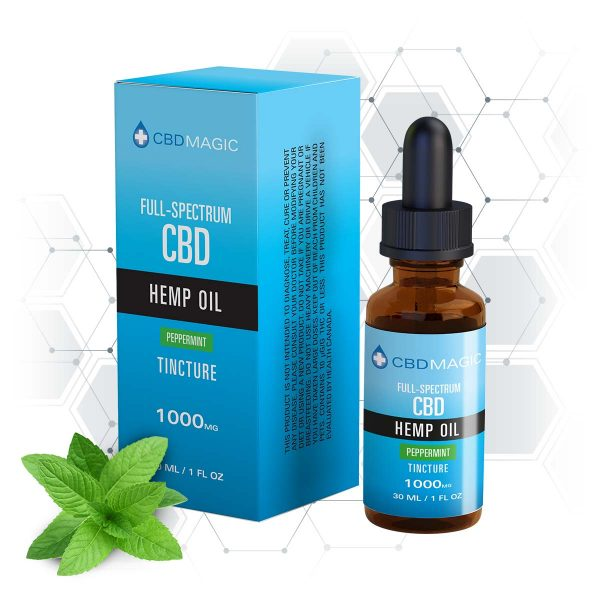 Full Spectrum CBD Hemp Oil Peppermint Tincture 1000mg (30 ml Bottle)